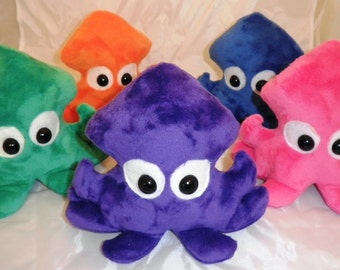 Plush Squid, Cute Stuffed Squid, Made to Order