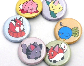 Cute Animals, Pinback Buttons, Set of Six