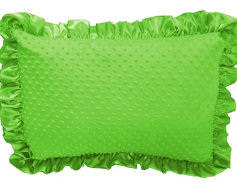 Lime Minky Dot Ruffled Pillow Sham Pillow Cover Pillowcase Pillow Case with Lime Satin Trim, Soft Minky Pillow Sham Cover Standard Size
