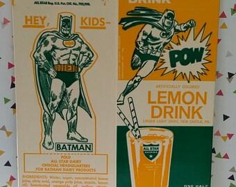 Vintage 1960s Batman Unused Old Store Stock Lemon Drink Carton
