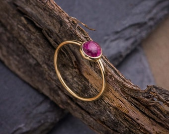 Flawless Cabochon Tourmaline set in 14K Yellow Gold Ring, Natural Purple Tourmaline Solitaire Ring, 14K Yellow Gold Ring, Zehava Jewelry