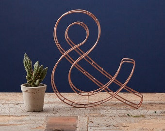 Wire Ampersand, Wire Letters, Copper Ampersand, Gold wire letters, Copper letters , Copper Home Decor, Copper Gifts , gift for him,