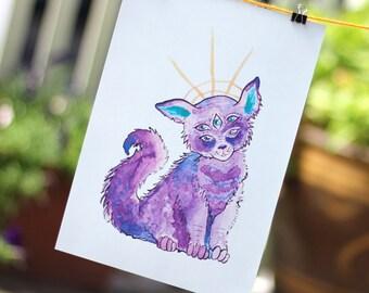 Alien Kitty - Large Art Print - A4 size
