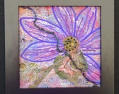 Purple Flower Art Quilt, Framed Fiber Art, Original Design Fabric Art, Home Decor, Gift for Her,  8 inch X 8 Inch