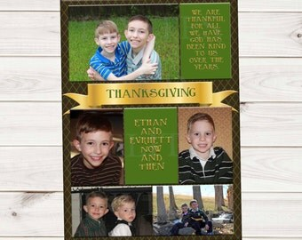 5 Photo Family Picture Fall Autumn Thanksgiving holiday card - Contact me to change the colors season words fonts picture arrangement etc.