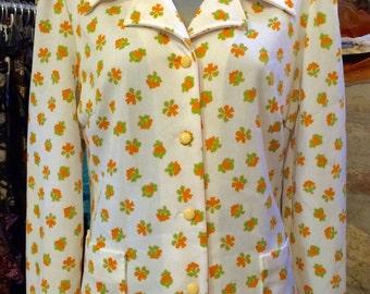 1960's over MOD style tiny floral pattern jacket. Size M.