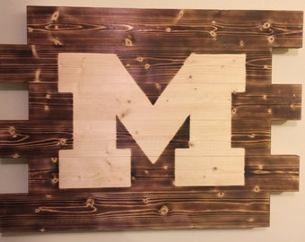 University of Michigan football man cave wood sign