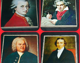 Classical Composers on Coasters!  Mozart, Beethovan, Chopin and Bach!