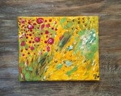 Abstract Unique Yellow Painting Canvas Art 8x10