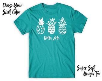 DZ Delta Zeta Pineapple Trio Choose Your TShirt Color!