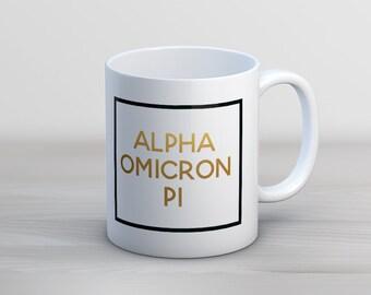 AOII Alpha Omicron Pi Faux Foil Mug Sorority Coffee Mug