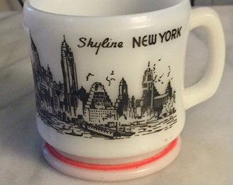 Vintage 1950s large Anchor Hocking Skyline New York milk glass souvenir mug.
