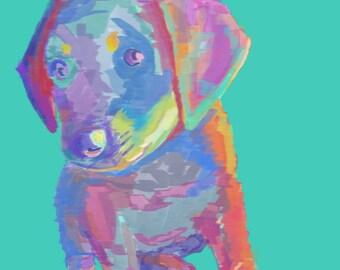 9x12 Lab Puppy - Lab Art - Dog Art - Print