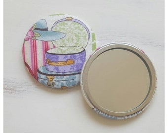 SALE, Pretty compact mirror, Fabric covered pocket mirror