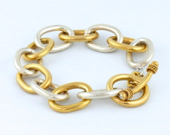 Silver & 24K Gold Chain Handmade Bracelet with Swarovski Crystal Toggle Clasp