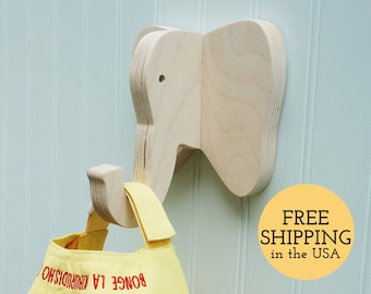 Wall hooks - Elephant wall hook: playful wooden elephant head wall hanger for coats, bags, hats, & backpacks - safari nursery, elephant gift