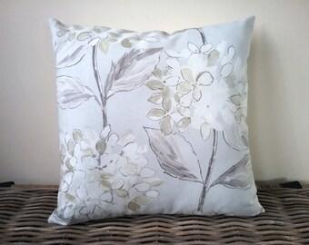 hydrangea pillow - neutral floral cushion - grey green floral pillow - hydrangea cushion
