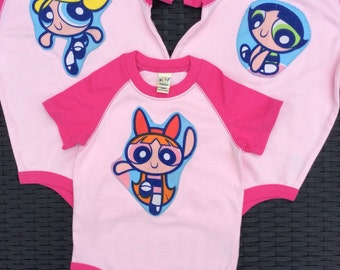 Power Puff Girls inspired vests Cartoon Network 2002 fabric