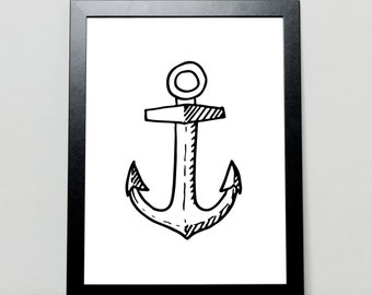 Anchor, Black and White, Nursery Art, Wall Art, Poster, Print, Home Decor, Nautical Print