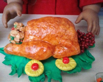 """Superb Turkey compatible with American girl 18"""" Dolls, Thanksgiving, Christmas, Holiday Feast, 18"""" Doll Food, Doll Food"""