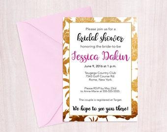 Printable Bridal Shower, gold and pink bridal shower invitation, floral bridal shower invitation, gold and pink invitation