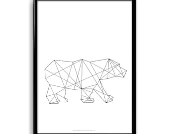 BIPOLARBEAR POSTER (geometric polar bear) White