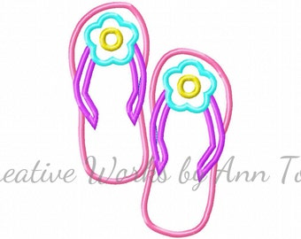 Flower Flip Flops Applique