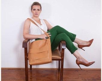 SALE 20% OFF JONES Messanger Bag, Cross Body Bag, Real Leather Messanger Bag, Shoulder Bag, camel and turquoise, Free Delivery