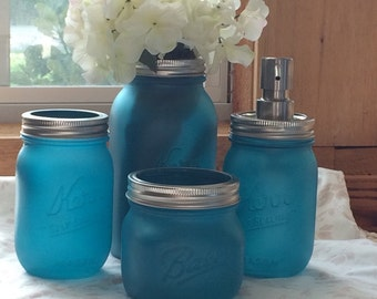 4 Piece Aqua Sea Glass Mason Jar Bath Set