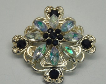 Vintage Aurora Borealis and Black Milk Rhinestone brooch