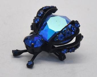 Rare Vintage Weiss Figural Deep Cobalt Blue Rhinestone Japanned Metal Insect Brooch