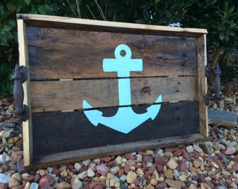 Rustic Pallet Wood Serving Tray, Nautical Serving Tray, Decorative tray, rustic beach decor, Wedding gift, home decor,mothers day gift