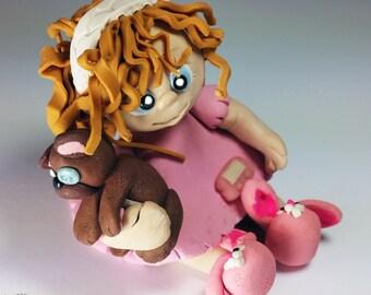 Gifts for Diabetics -Mini Polymer Clay Chibi Figurine-T1D Type 1 Diabetic (Type One Diabetes Mellitus) Toddler Girl w/ Insulin Pump-Diabetic