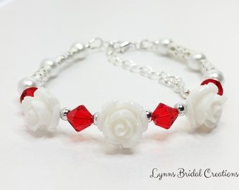 White Rose Bracelet Red Crystal Bracelet Red Wedding Jewelry Bridesmaid Gift Flower Girl Gift Mother of the Bride Red Swarovski Crystal