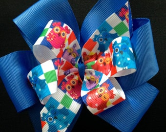 Rainbow Owls Pinwheel Boutique Bow