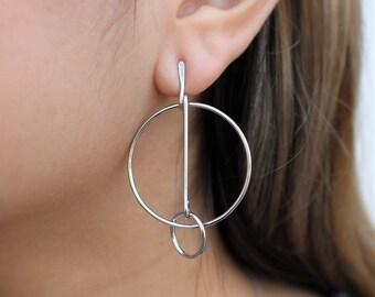 Circle Bar Drop Earrings