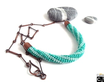 Copper necklace with beaded snake