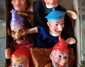 Scheithauer marionette King Princess Toto' mago gnomo cappuccetto rosso box of 6 pcs made in Western Germany 1950s