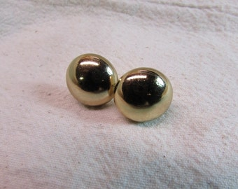 Monet Gold Tone Chip-On Button Earrings