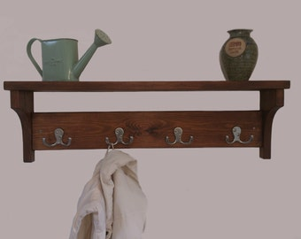 Rustic hallway coat rack with hooks and shelf, handmade from solid wood - by MT-Rustico