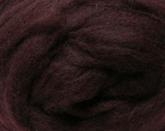 Eggplant Corriedale Wool Roving One Ounce for Felting and Spinning