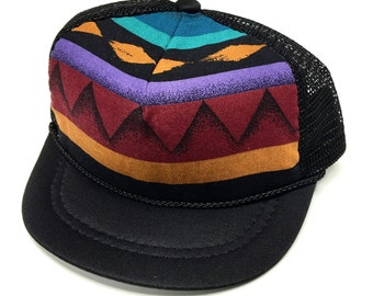 Black with Tribal print Baby Trucker Hat