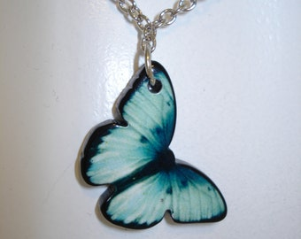 Butterfly Necklace, Handmade, Blue Butterflies