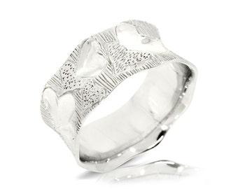 Rustik Wedding Band, 14K White Gold Ring Size 7.5 White Gold Band Ring, Wedding Jewelry Gift, Women Anniversary Gift