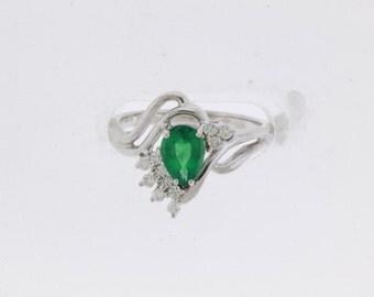 Unique 14kt Gold Natural Emerald & Diamond Ring #22011L