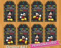 Mickey Mouse Thank You Tags, Mickey Mouse Favor Tags, Mickey Mouse Bag Toppers, PERSONALIZED, Digital File