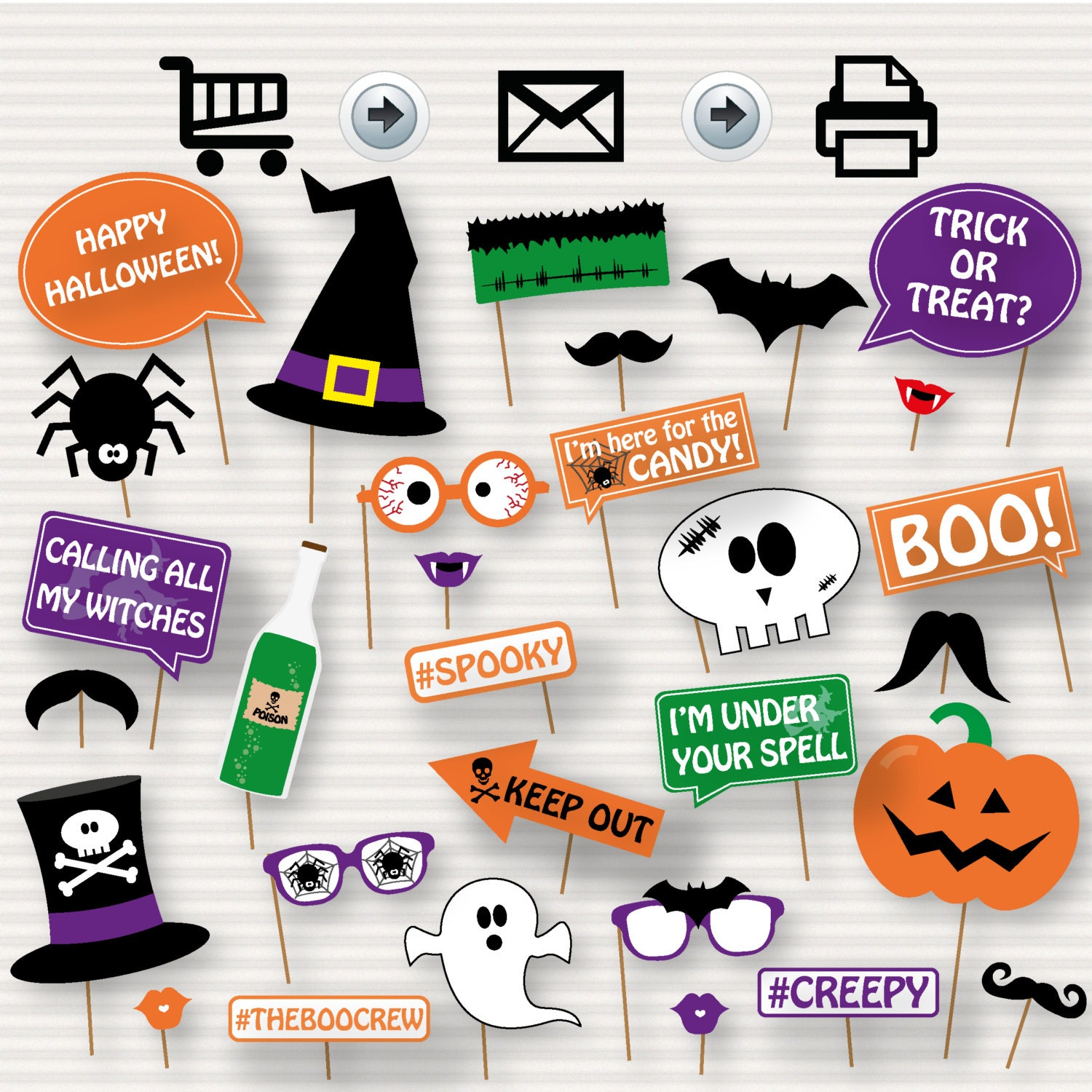 It's just a graphic of Sly Halloween Photo Booth Props Printable Free