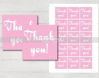 baby shower thank you cards, thank you tags, thank you stickers, baby shower tags, baby shower girl, pink baby shower, place cards