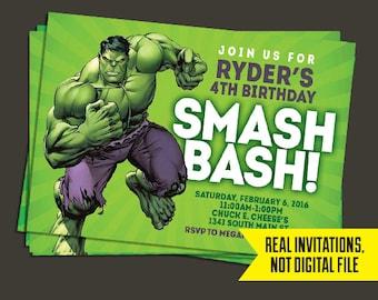 Hulk Invitation - Hulk Birthday Invitation