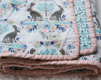bunny baby quilt, bunny kids bedding, bunny crib quilt, bunny toddler quilt, bunny crib bedding, handmade quilt, modern baby quilt